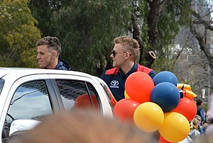 Hugh Greenwood - Greenwood (right) during the 2017 AFL Grand Final Parade