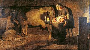 "Canzo - ""The two mothers"", painting by Giovanni Segantini, made within the boundaries of Canzo during his residence."