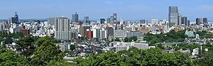 Sendai City Panorama from Site of Sendai Castle Keep Tower Base 2010-05-31 cropped-3.jpg