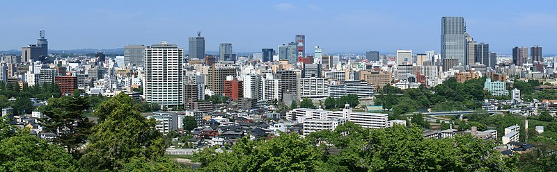 File:Sendai City Panorama from Site of Sendai Castle Keep Tower Base 2010-05-31 cropped-3.jpg
