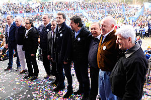 Argentine legislative election, 2013 - Sergio Massa (5th from right) caps a campaign rally with his fellow Renewal Front candidates. Their party list won in Buenos Aires Province, the nation's largest. The balance of power in Congress was largely unchanged, however, and the Front for Victory maintained their working majority in both houses.