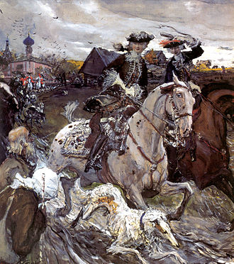 Valentin Serov - Peter II departure and Empress Elizabeth Petrovna on hunting, 1900, Russian Museum