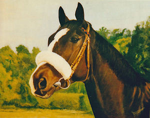 Prix du Cadran - Shafaraz, oil on canvas  Painting by Bob Demuyser (1920-2003)