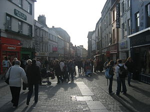 Shop Street, the city's main thoroughfare.