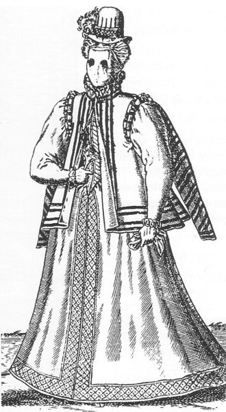 Visard - A woman wearing a visard, as engraved by Abraham de Bruyn in 1581.