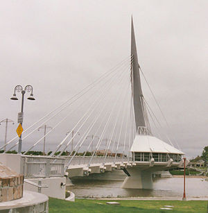 Provencher Bridge (Winnipeg) - The Esplanade Riel, with the vehicular bridge in the background.