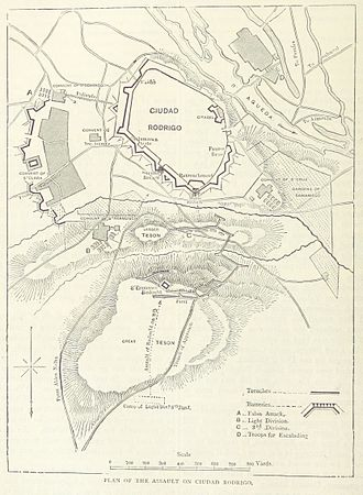 Siege of Ciudad Rodrigo (1812) - A map of the siege