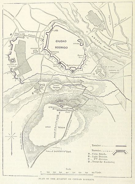 A map of the siege Siege of Ciudad Rodrigo (1812) map.jpg