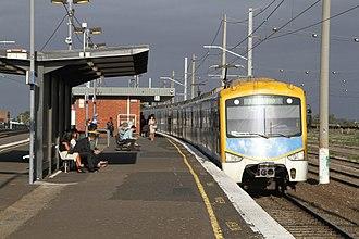 Railway electrification in Australia - A Siemens Nexas at Tottenham station in Melbourne