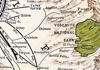 Yosemite Valley Railroad - Sierra Railway route in 1931