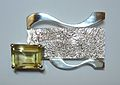 Silver and citrine brooch..JPG