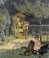 Simon Durand Garten mit Imker und spielendem Mädchen.jpg