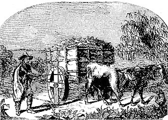 Los Angeles & San Pedro Railroad - An oxcart transporting cargo along the Paseo de San Pedro