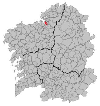 Miño, A Coruña - Location of Miño in Galicia.