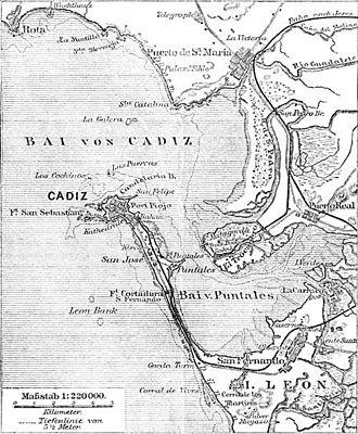 Battle of Trocadero - Location of Trocadero in the Bay of Cádiz (1888)