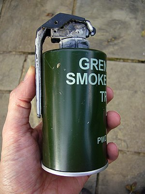 Smoke grenade - British L83A1 Smoke Grenade manufactured in May 2008. This grenade has already been used.