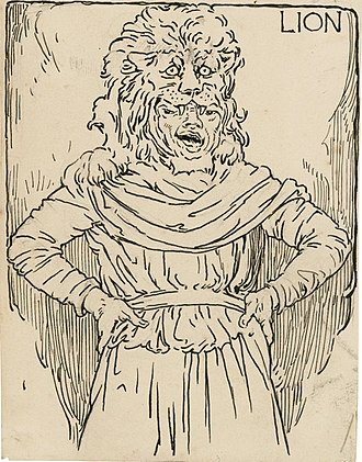 Mechanical (character) - Snug playing the Lion in the play-within-the-play Pyramus and Thisbe, within William Shakespeare's A Midsummer Night's Dream. Illustration by Louis Rhead for an edition of Charles and Mary Lamb's Tales from Shakespeare (1918).