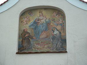 Söflingen Abbey - Mural on abbey gate depicting the abbey in the 18th century