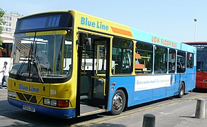 Bluestar (bus company) - Solent Blue Line branded Wright Cadet bodied DAF SB120 in May 2008