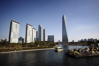 Northeast Asia Trade Tower - Image: Songdo's central park and the NEATT, Incheon, South Korea