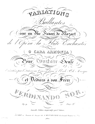 Introduction and Variations on a Theme by Mozart (Sor) - The original cover of Sor's Variations on a Theme of Mozart, Op. 9, published in Paris in 1821