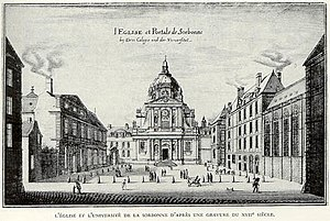 College of Sorbonne - The chapel of the Sorbonne, Paris, in a 17th-century engraving