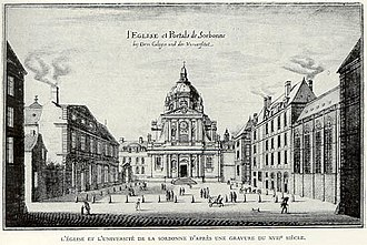 Collegiate university - The University of Paris depicted in a 17th-century engraving