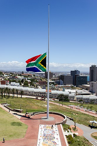 Death of Nelson Mandela - The largest South African flag flying half-mast at the Donkin Reserve, Port Elizabeth.