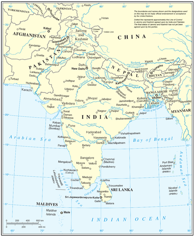 United Nations cartographic map of South Asia.[48] However, the United Nations does not endorse any definitions or area boundaries.[note 3]