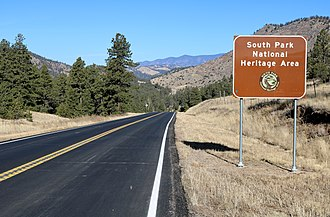 Colorado State Highway 9 - SH 9 as it enters the South Park National Heritage Area