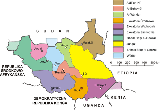 South Sudan-administrative map PL