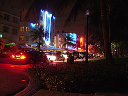 The nightclub district at Ocean Drive, in the South Beach district of Miami Beach
