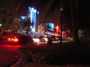 Ocean Drive on South Beach at night featuring ...