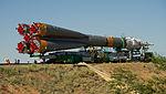 Soyuz TMA-05M spacecraft roll out by train 2.jpg