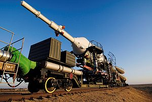 Industrial railway - Russian spacecraft transported to the launch pad by the Baikonur intra-spaceport railway.