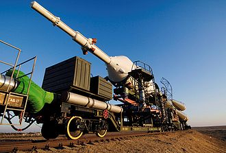 Soyuz TMA-11 spacecraft transported by railcar.jpg