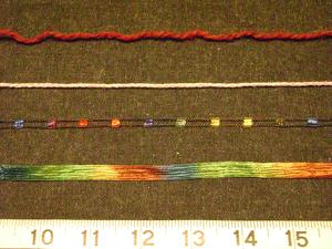 Novelty yarns - From top to bottom: Regular yarn, braided yarn, ladder yarn and ribbon yarn