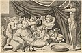 Speculum Romanae Magnificentiae- Bacchus Surrounded by Putti with Priapus holding back the curtain MET DP837629.jpg