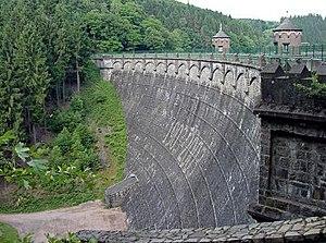 Barrier wall of the Sengbach dam