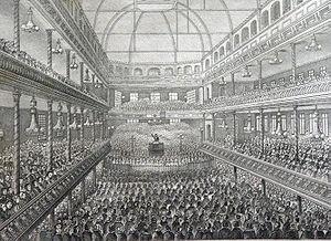 Charles Spurgeon - Spurgeon preaching at the Surrey Music Hall circa 1858.
