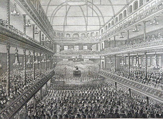 Royal Surrey Gardens - Charles Spurgeon preaching in a packed Surrey Music Hall in around 1858.