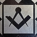 Square and compasses, Wallasey Masonic Hall.jpg