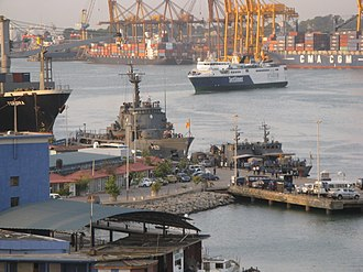 Sri Lanka Navy - SLNS Samudura, fast gun boats and troopship JetLiner in the Colombo harbor.