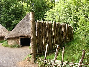 Palisade - Reconstruction of a palisade in a Celtic village at St Fagans National History Museum, Wales