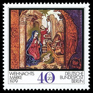 "Altenberg Abbey - Birth of Christ: detail of the initial letter ""H"" from a manuscript of Altenberg Abbey, on the Berlin Christmas stamp of 1979"