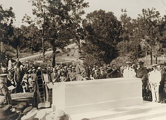 Unveiling ceremony for a Stone of Remembrance in 1924 StateLibQld 2 254820 Official ceremony for the unveiling of the Stone of Remembrance, Toowong Cemetery, Brisbane, 1924.jpg