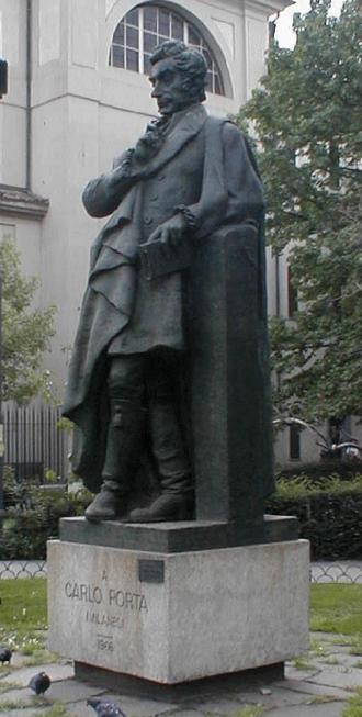 "Carlo Porta - Statue of Carlo Porta in the ""Verzee""."