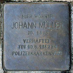 Photo of Johann Müller brass plaque