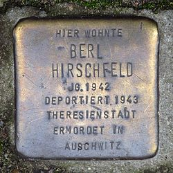 Photo of Berl Hirschfeld brass plaque