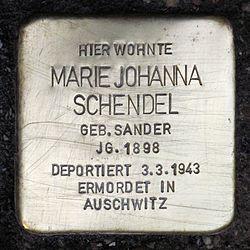 Photo of Marie Johanna Schendel brass plaque